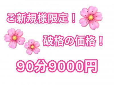 破格の価格!!90分9000円!